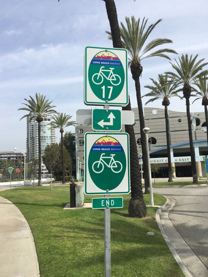 Downtown Long Beach with bike trails to bike shops